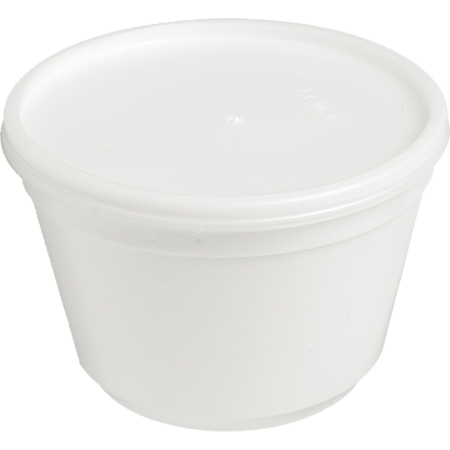 Pot, foampot en deksel, EPS, 78mm, 460ml, wit/Transparant. 1