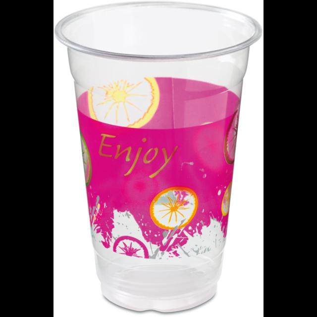 Milkshake cup, Enjoy, PET, 500ml, 20oz, pink/Transparent