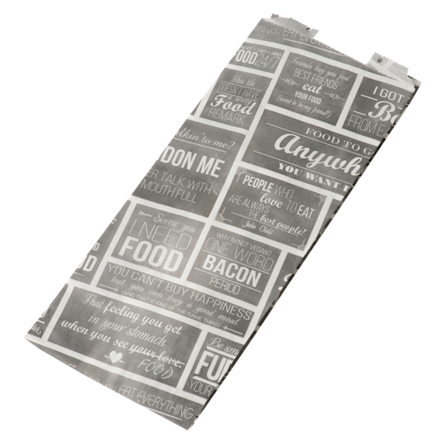 Bag, Snack bag, greaseproof, 130x320x 80mm, Pubchalk, white/Grey 1