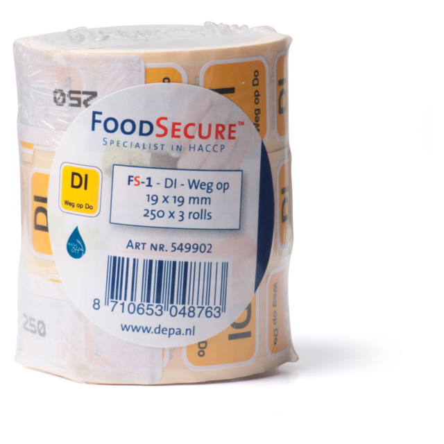 FoodSecure® Label, wash-off, 19x19mm, jaune 2