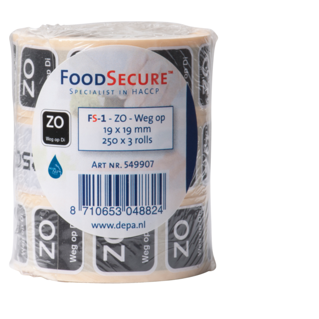 FoodSecure® Label, afwasbaar, 19x19mm,  2